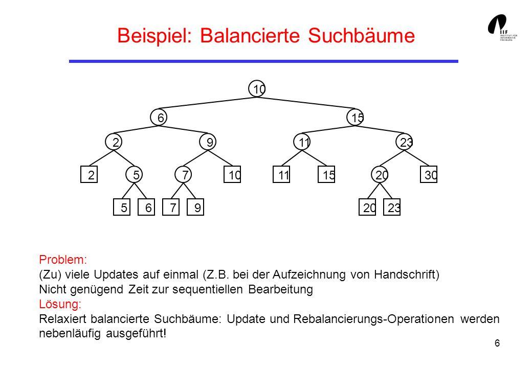 6 Beispiel: Balancierte Suchbäume Problem: (Zu) viele Updates auf einmal (Z.B.