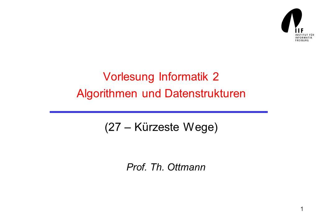 2 Kürzeste Wege In ungewichteten Graphen (alle Kanten haben gleiche Kosten 1) In gewichteten Graphen (Kanten haben beliebige, nichtnegative Gewichte) Dijkstra´s 1-to-all shortest path algorithmus