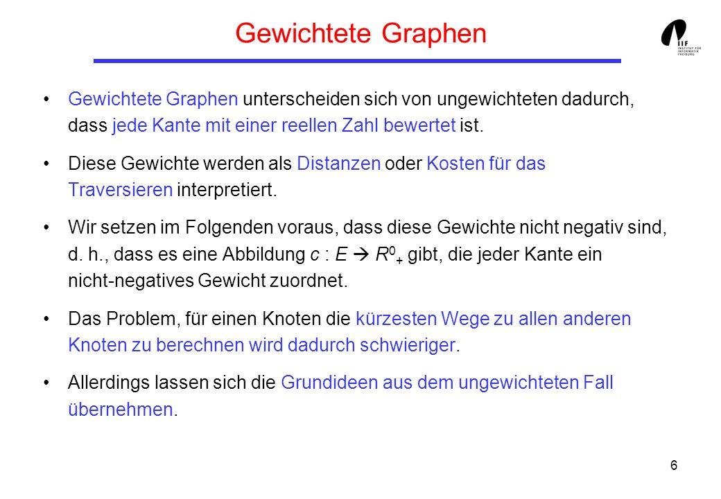 6 Gewichtete Graphen Gewichtete Graphen unterscheiden sich von ungewichteten dadurch, dass jede Kante mit einer reellen Zahl bewertet ist. Diese Gewic