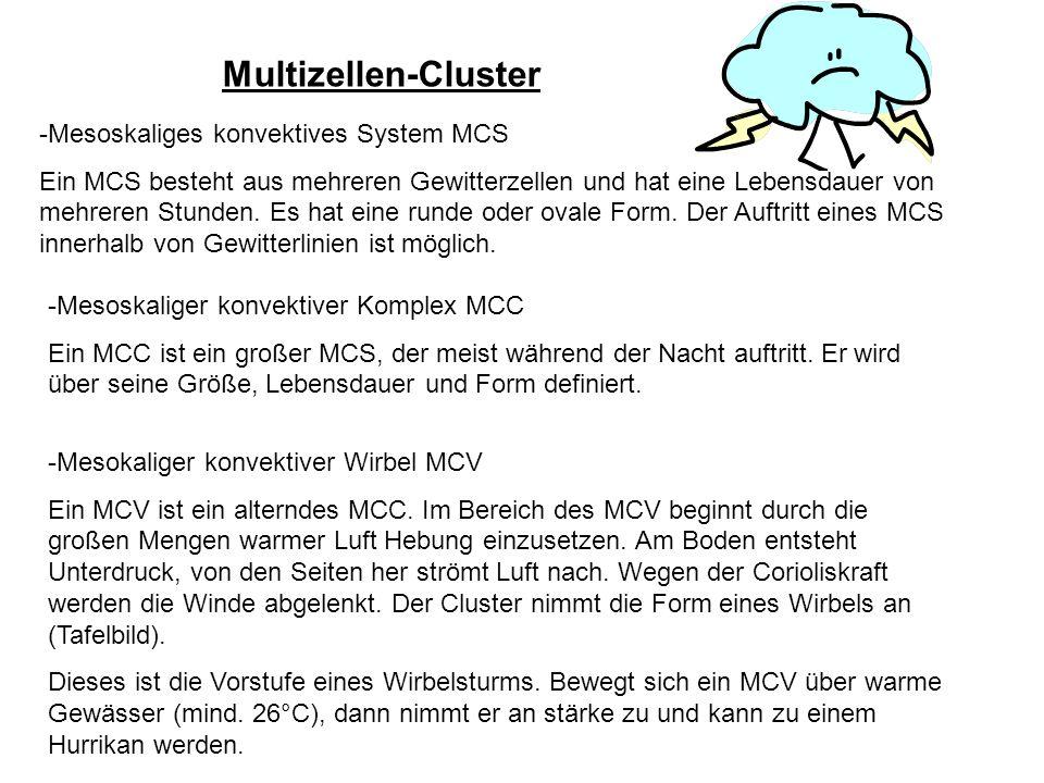 Multizellen-Cluster -Mesoskaliges konvektives System MCS Ein MCS besteht aus mehreren Gewitterzellen und hat eine Lebensdauer von mehreren Stunden. Es