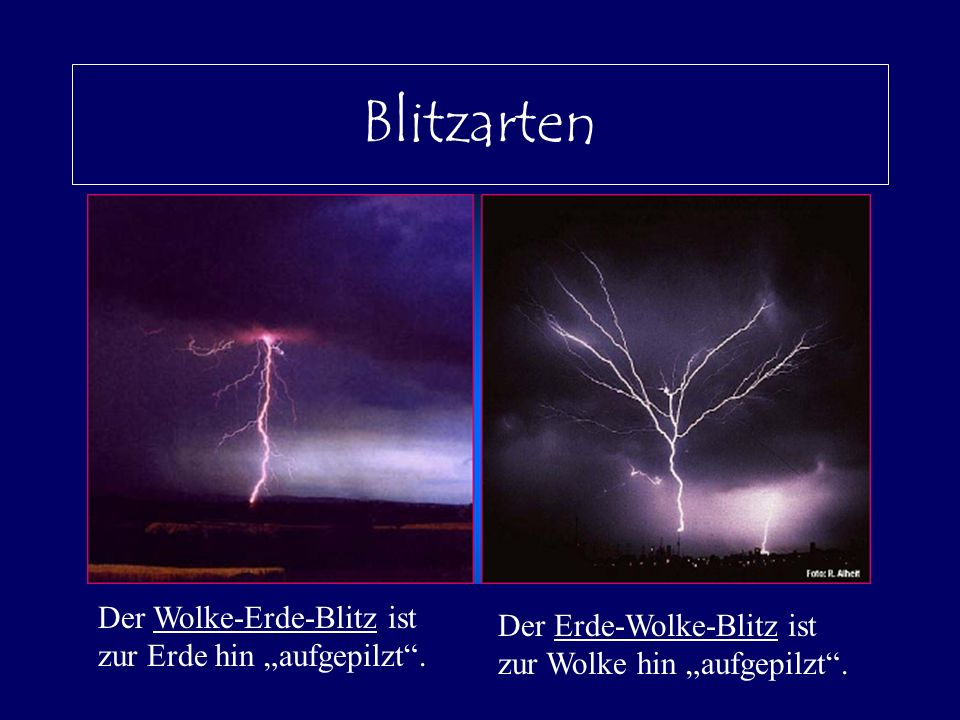 Blitzarten Der Wolke-Erde-Blitz ist zur Erde hin aufgepilzt. Der Erde-Wolke-Blitz ist zur Wolke hin aufgepilzt.