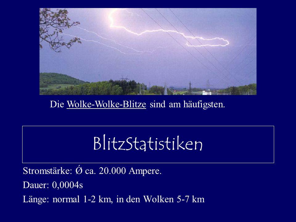 BlitzStatistiken Stromstärke: Ǿ ca. 20.000 Ampere. Dauer: 0,0004s Länge: normal 1-2 km, in den Wolken 5-7 km Die Wolke-Wolke-Blitze sind am häufigsten