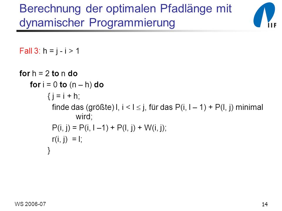 14WS 2006-07 Berechnung der optimalen Pfadlänge mit dynamischer Programmierung Fall 3: h = j - i > 1 for h = 2 to n do for i = 0 to (n – h) do { j = i + h; finde das (größte) l, i < l j, für das P(i, l – 1) + P(l, j) minimal wird; P(i, j) = P(i, l –1) + P(l, j) + W(i, j); r(i, j) = l; }