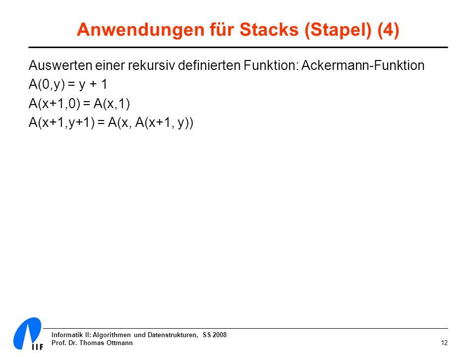 Informatik II: Algorithmen und Datenstrukturen, SS 2008 Prof. Dr. Thomas Ottmann12 Anwendungen für Stacks (Stapel) (4) Auswerten einer rekursiv defini