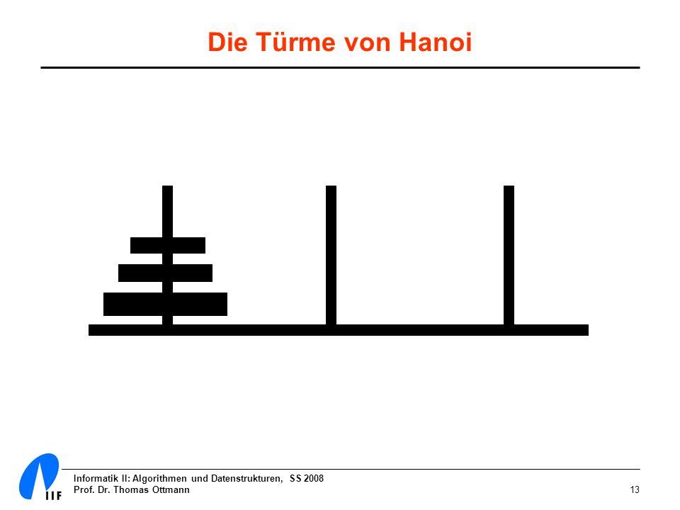 Informatik II: Algorithmen und Datenstrukturen, SS 2008 Prof. Dr. Thomas Ottmann13 Die Türme von Hanoi