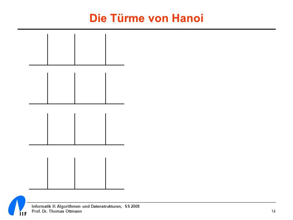 Informatik II: Algorithmen und Datenstrukturen, SS 2008 Prof. Dr. Thomas Ottmann14 Die Türme von Hanoi