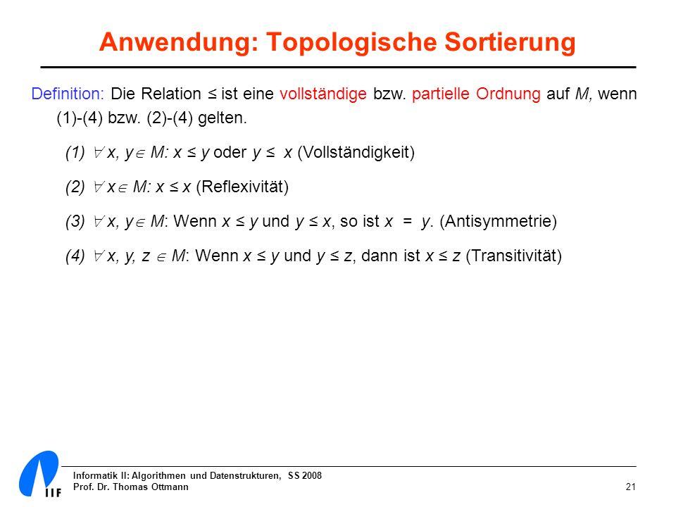 Informatik II: Algorithmen und Datenstrukturen, SS 2008 Prof. Dr. Thomas Ottmann21 Anwendung: Topologische Sortierung Definition: Die Relation ist ein