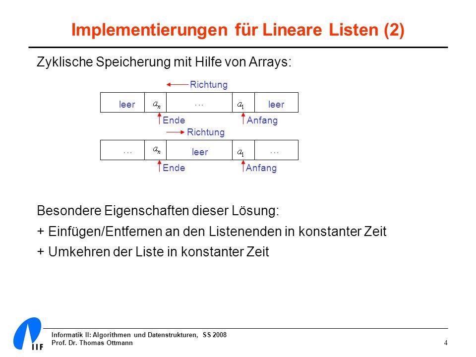 Informatik II: Algorithmen und Datenstrukturen, SS 2008 Prof. Dr. Thomas Ottmann4 Implementierungen für Lineare Listen (2) Zyklische Speicherung mit H