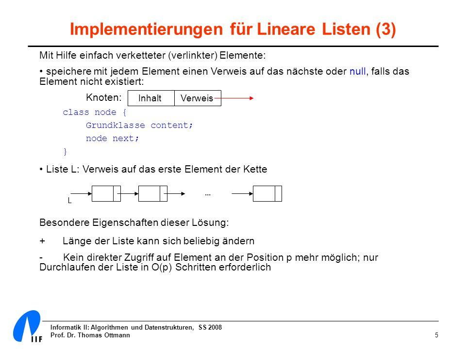 Informatik II: Algorithmen und Datenstrukturen, SS 2008 Prof. Dr. Thomas Ottmann5 Implementierungen für Lineare Listen (3) Mit Hilfe einfach verkettet