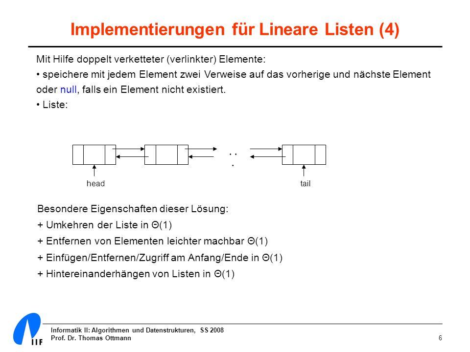 Informatik II: Algorithmen und Datenstrukturen, SS 2008 Prof. Dr. Thomas Ottmann6 Implementierungen für Lineare Listen (4) Mit Hilfe doppelt verkettet