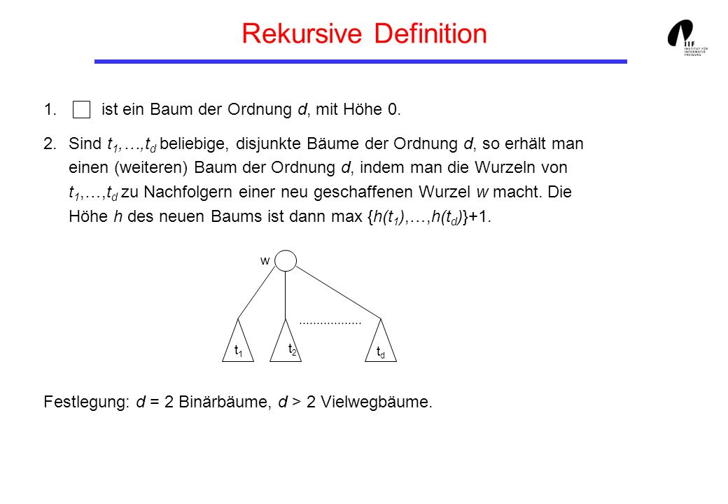 Natürliche Bäume (6) /* Suche nach c im Baum */ boolean search (int c) { return search (root, c); } boolean search (SearchNode n, int c){ while (n != null) { if (c == n.content) return true; if (c < n.content) n = n.left; else n = n.right; } return false; }