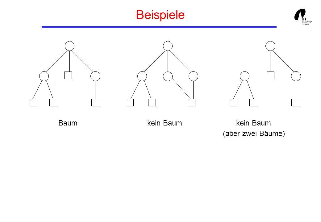 Strukturelle Eigenschaften von Bäumen Tiefe eines Knotens k: # Kanten von der Wurzel des Baums bis k (Abstand von k zur Wurzel) Höhe h(t) eines Baumes t: Maximale Tiefe eines Blattes von t.
