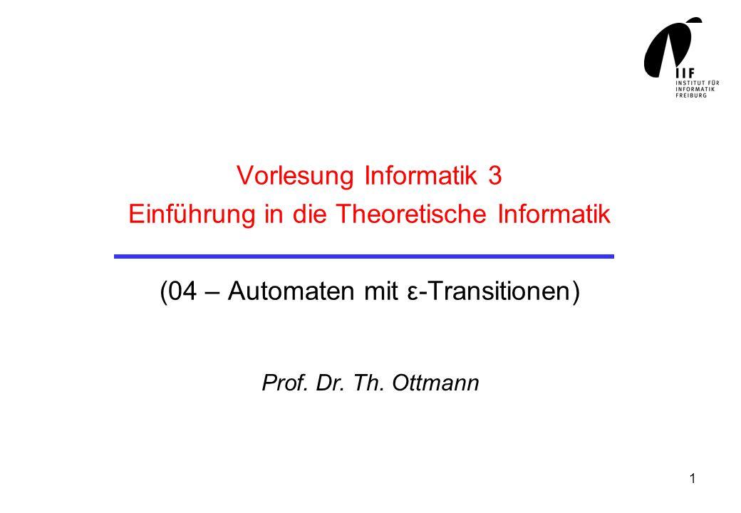 2 Deterministische endliche Automaten Ein deterministischer endlicher Automat (DFA) ist gegeben durch eine endliche Menge S von Zuständen eine endliche Menge von Eingabezeichen einen Anfangszustand s 0 S eine Endzustandsmenge F S eine Übergangsfunktion δ : S x S Kurz: A = (, S, δ, s 0, F) δ kann auch durch einen Zustandsübergangs Graphen oder als Menge von Tripeln (s, a, t) mit δ (s, a) = t gegeben sein δ ist manchmal nicht total (überall definiert)
