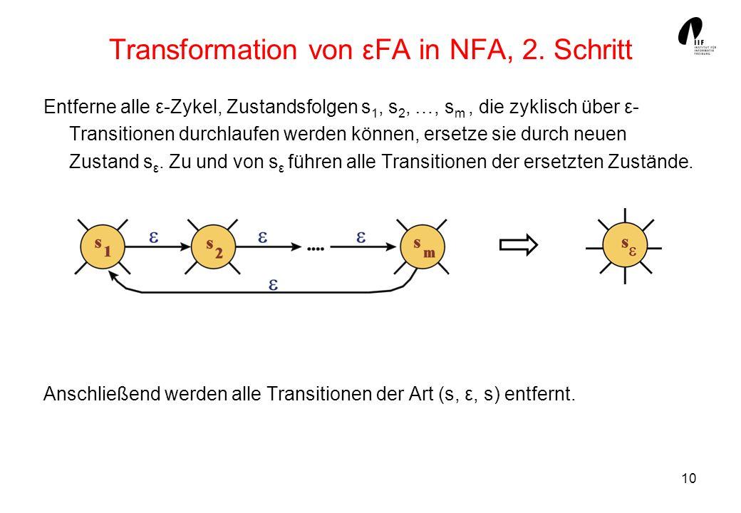 10 Transformation von εFA in NFA, 2. Schritt Entferne alle ε-Zykel, Zustandsfolgen s 1, s 2, …, s m, die zyklisch über ε- Transitionen durchlaufen wer