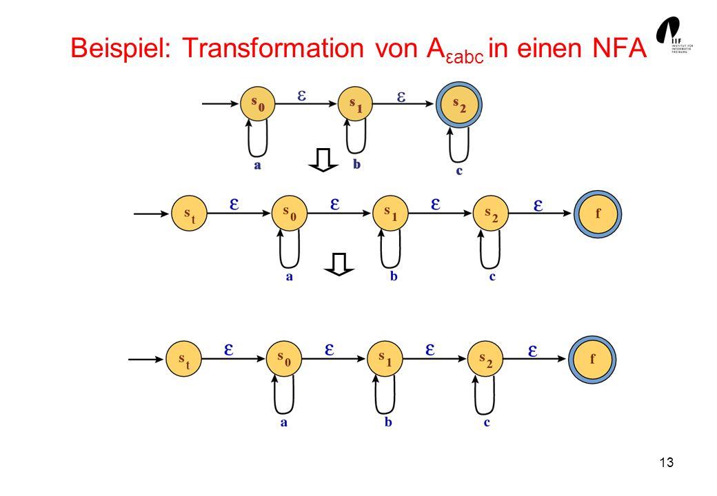 13 Beispiel: Transformation von A εabc in einen NFA