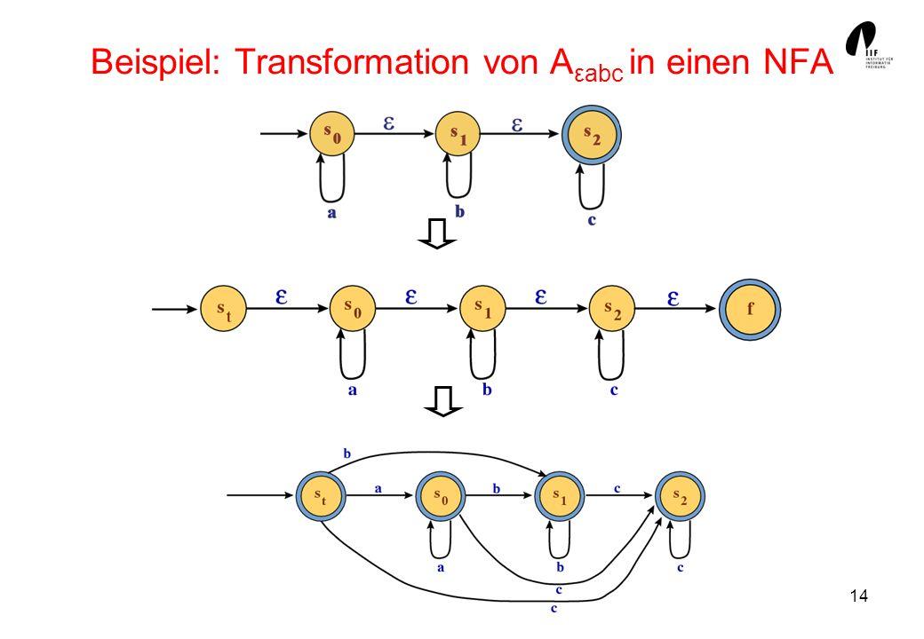 14 Beispiel: Transformation von A εabc in einen NFA
