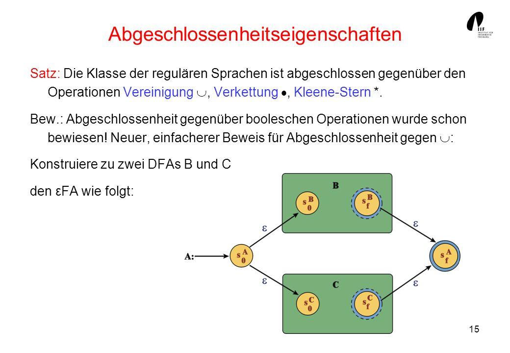 15 Abgeschlossenheitseigenschaften Satz: Die Klasse der regulären Sprachen ist abgeschlossen gegenüber den Operationen Vereinigung, Verkettung, Kleene-Stern *.
