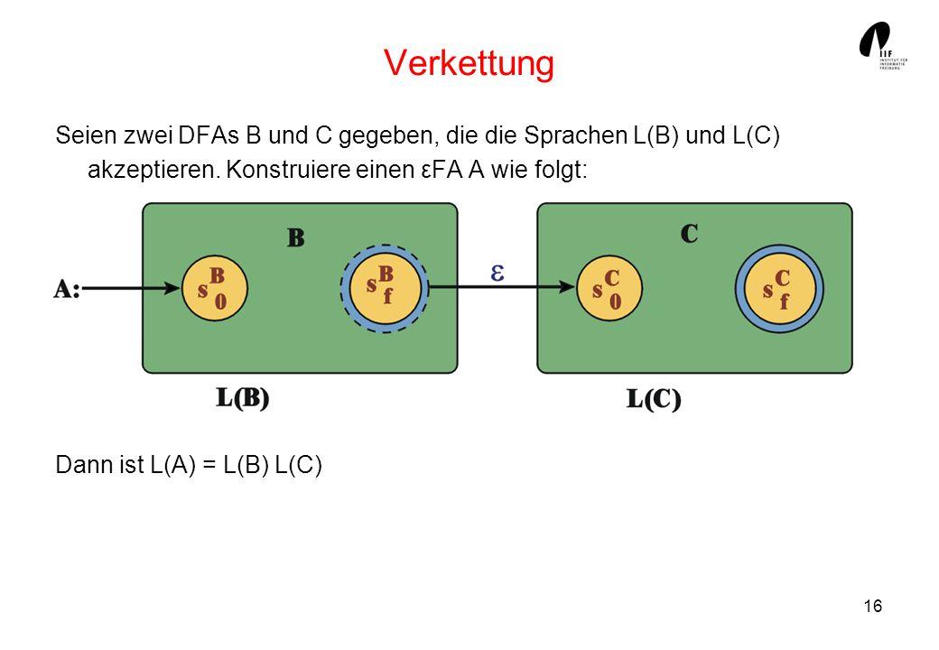16 Verkettung Seien zwei DFAs B und C gegeben, die die Sprachen L(B) und L(C) akzeptieren. Konstruiere einen εFA A wie folgt: Dann ist L(A) = L(B) L(C