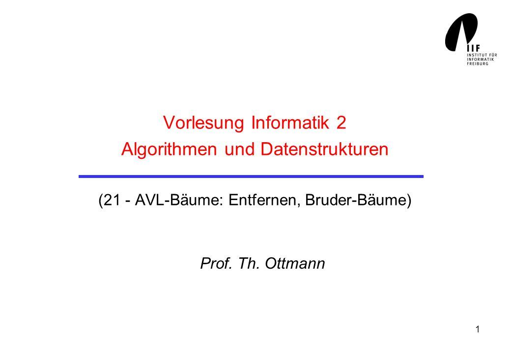 1 Vorlesung Informatik 2 Algorithmen und Datenstrukturen (21 - AVL-Bäume: Entfernen, Bruder-Bäume) Prof. Th. Ottmann
