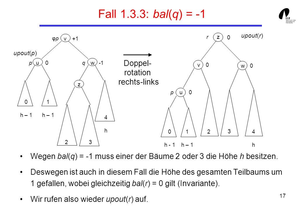 17 Fall 1.3.3: bal(q) = -1 Wegen bal(q) = -1 muss einer der Bäume 2 oder 3 die Höhe h besitzen. Deswegen ist auch in diesem Fall die Höhe des gesamten