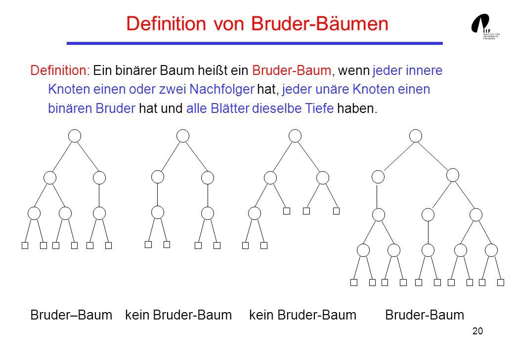 20 Definition von Bruder-Bäumen Definition: Ein binärer Baum heißt ein Bruder-Baum, wenn jeder innere Knoten einen oder zwei Nachfolger hat, jeder unä