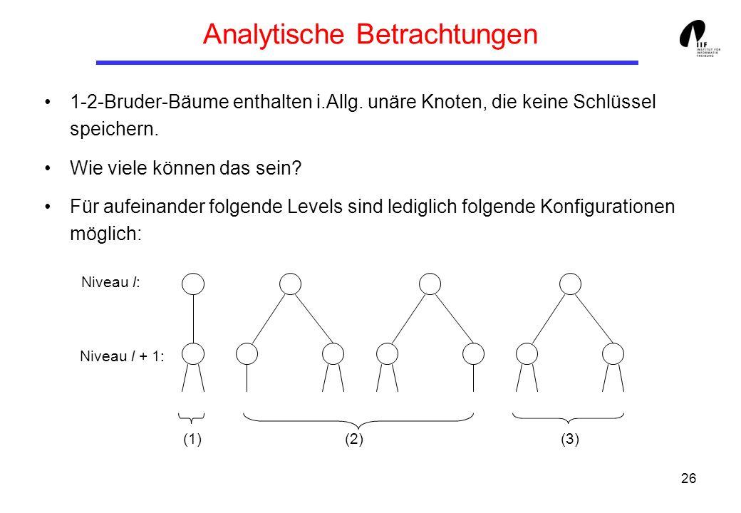 26 Analytische Betrachtungen 1-2-Bruder-Bäume enthalten i.Allg. unäre Knoten, die keine Schlüssel speichern. Wie viele können das sein? Für aufeinande
