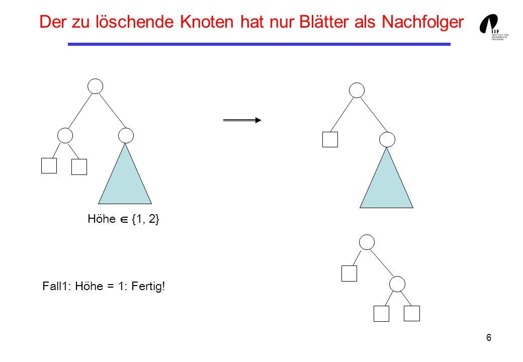 7 Der zu löschende Knoten hat nur Blätter als Nachfolger Fall2: Höhe = 2 Achtung: Höhe kann um 1 gesunken sein!