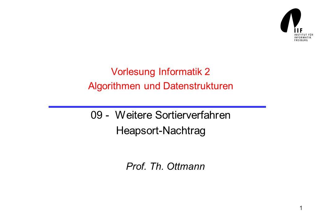 1 Vorlesung Informatik 2 Algorithmen und Datenstrukturen 09 - Weitere Sortierverfahren Heapsort-Nachtrag Prof. Th. Ottmann