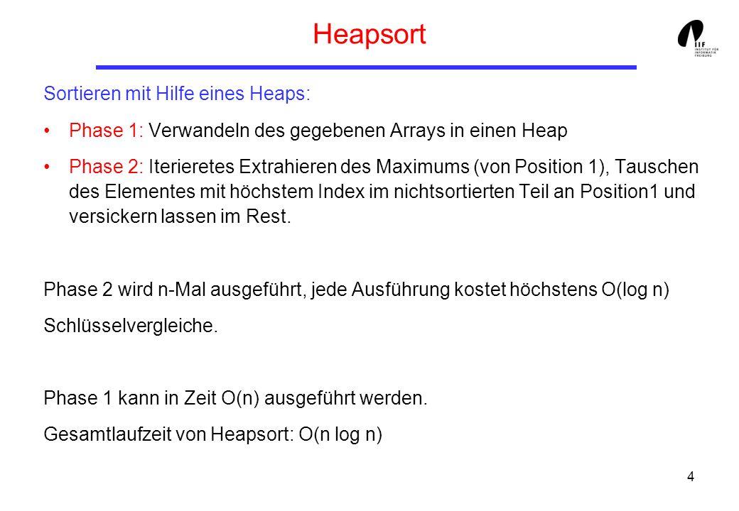 5 Heapaufbau Niveau, #Knoten, Versick.-Aufwand/Knoten