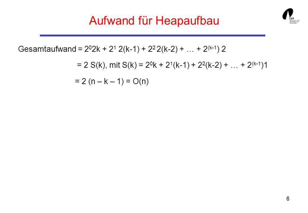 6 Aufwand für Heapaufbau Gesamtaufwand = 2 0 2k + 2 1 2(k-1) + 2 2 2(k-2) + … + 2 (k-1 ) 2 = 2 S(k), mit S(k) = 2 0 k + 2 1 (k-1) + 2 2 (k-2) + … + 2