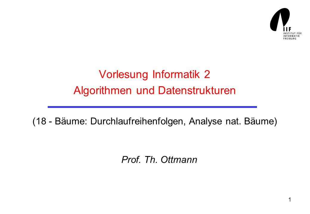 1 Vorlesung Informatik 2 Algorithmen und Datenstrukturen (18 - Bäume: Durchlaufreihenfolgen, Analyse nat. Bäume) Prof. Th. Ottmann