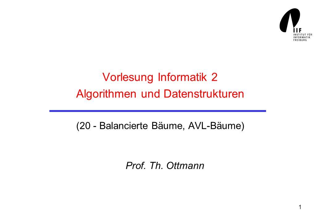 1 Vorlesung Informatik 2 Algorithmen und Datenstrukturen (20 - Balancierte Bäume, AVL-Bäume) Prof. Th. Ottmann