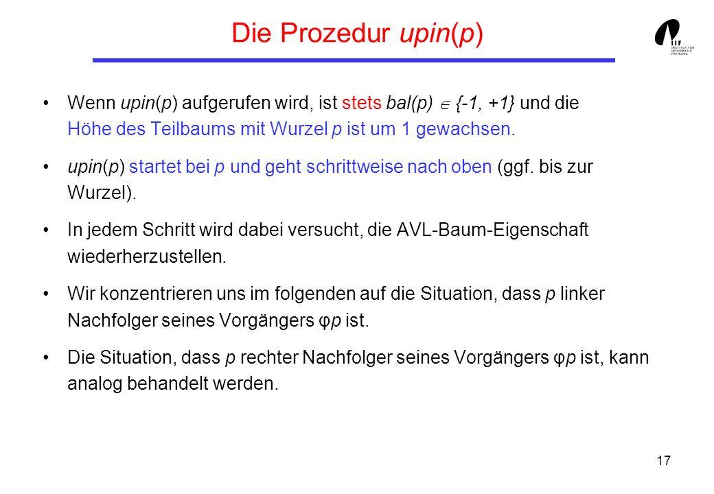 17 Die Prozedur upin(p) Wenn upin(p) aufgerufen wird, ist stets bal(p) {-1, +1} und die Höhe des Teilbaums mit Wurzel p ist um 1 gewachsen. upin(p) st