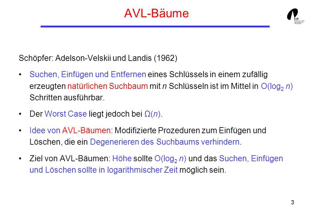 3 AVL-Bäume Schöpfer: Adelson-Velskii und Landis (1962) Suchen, Einfügen und Entfernen eines Schlüssels in einem zufällig erzeugten natürlichen Suchbaum mit n Schlüsseln ist im Mittel in O(log 2 n) Schritten ausführbar.