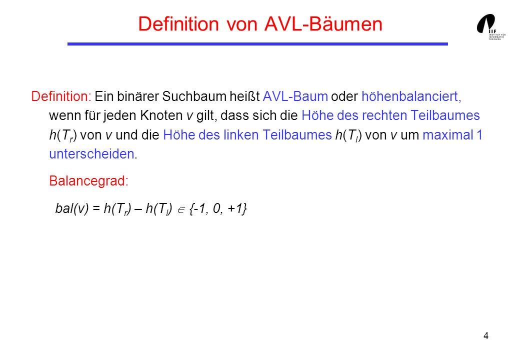 4 Definition von AVL-Bäumen Definition: Ein binärer Suchbaum heißt AVL-Baum oder höhenbalanciert, wenn für jeden Knoten v gilt, dass sich die Höhe des rechten Teilbaumes h(T r ) von v und die Höhe des linken Teilbaumes h(T l ) von v um maximal 1 unterscheiden.