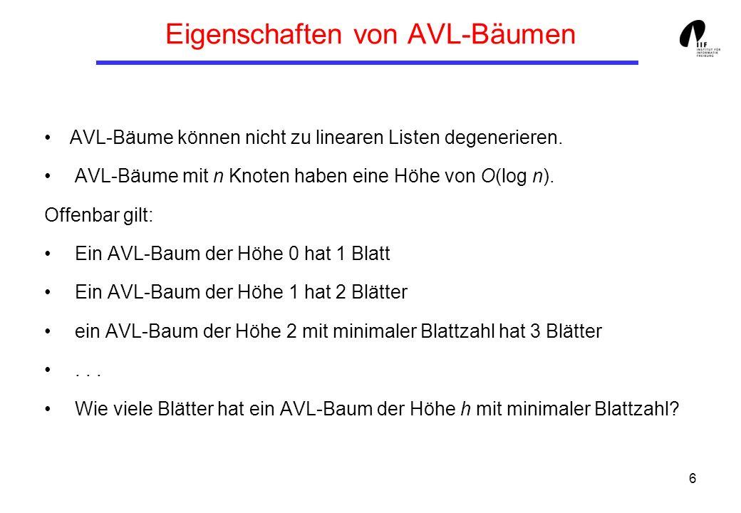 6 Eigenschaften von AVL-Bäumen AVL-Bäume können nicht zu linearen Listen degenerieren.