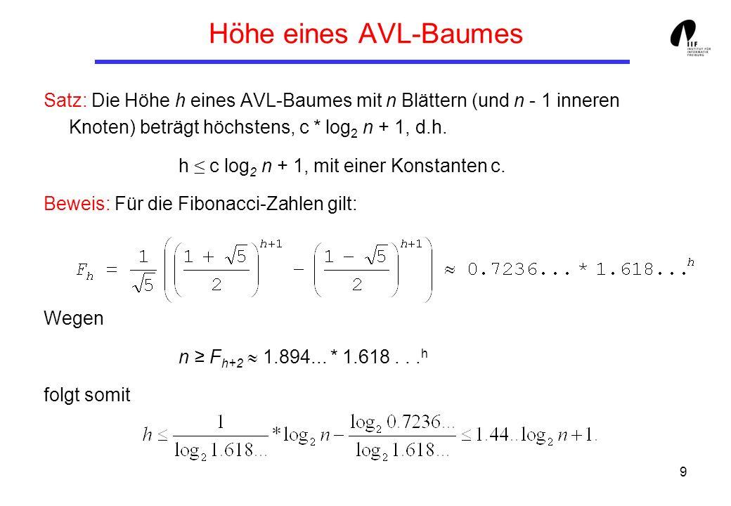 9 Höhe eines AVL-Baumes Satz: Die Höhe h eines AVL-Baumes mit n Blättern (und n - 1 inneren Knoten) beträgt höchstens, c * log 2 n + 1, d.h. h c log 2