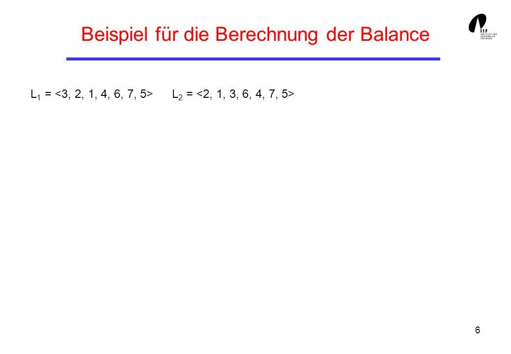 7 Normierung der Balance-Berechnung Zur Berechnung der Balance bal(L 1, L 2 ) für zwei Listen L 1 und L 2 von n Zahlen kann man o.E.