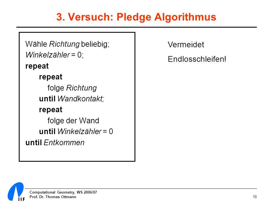 Computational Geometry, WS 2006/07 Prof. Dr. Thomas Ottmann10 3. Versuch: Pledge Algorithmus Wähle Richtung beliebig; Winkelzähler = 0; repeat folge R