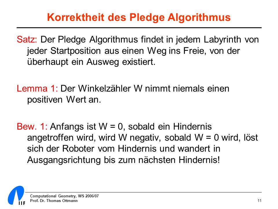 Computational Geometry, WS 2006/07 Prof. Dr. Thomas Ottmann11 Korrektheit des Pledge Algorithmus Satz: Der Pledge Algorithmus findet in jedem Labyrint