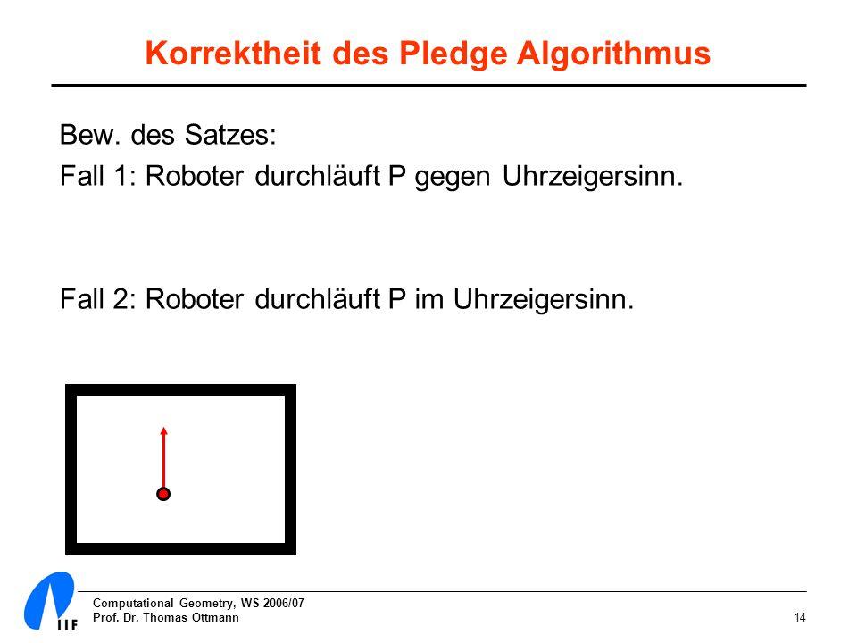 Computational Geometry, WS 2006/07 Prof. Dr. Thomas Ottmann14 Korrektheit des Pledge Algorithmus Bew. des Satzes: Fall 1: Roboter durchläuft P gegen U