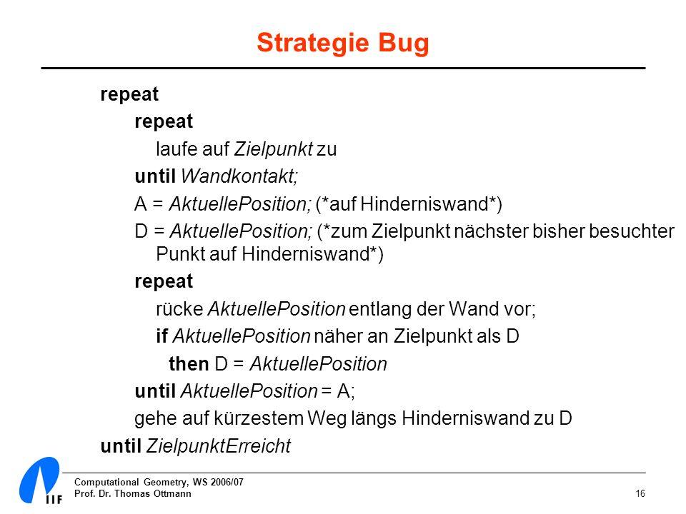 Computational Geometry, WS 2006/07 Prof. Dr. Thomas Ottmann16 Strategie Bug repeat laufe auf Zielpunkt zu until Wandkontakt; A = AktuellePosition; (*a