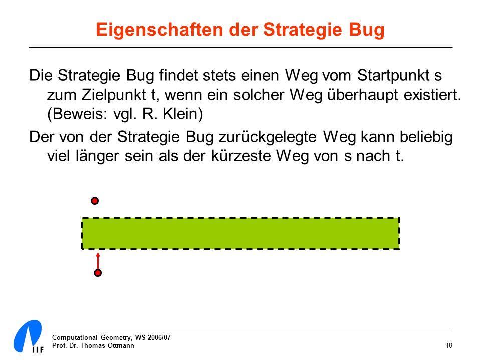Computational Geometry, WS 2006/07 Prof. Dr. Thomas Ottmann18 Eigenschaften der Strategie Bug Die Strategie Bug findet stets einen Weg vom Startpunkt