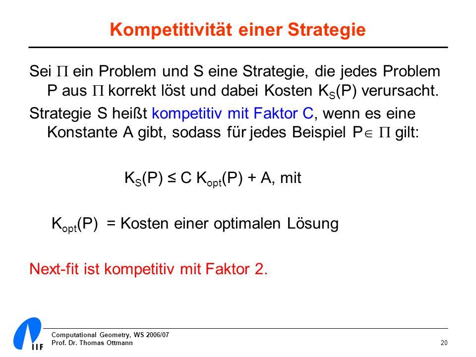 Computational Geometry, WS 2006/07 Prof. Dr. Thomas Ottmann20 Kompetitivität einer Strategie Sei ein Problem und S eine Strategie, die jedes Problem P