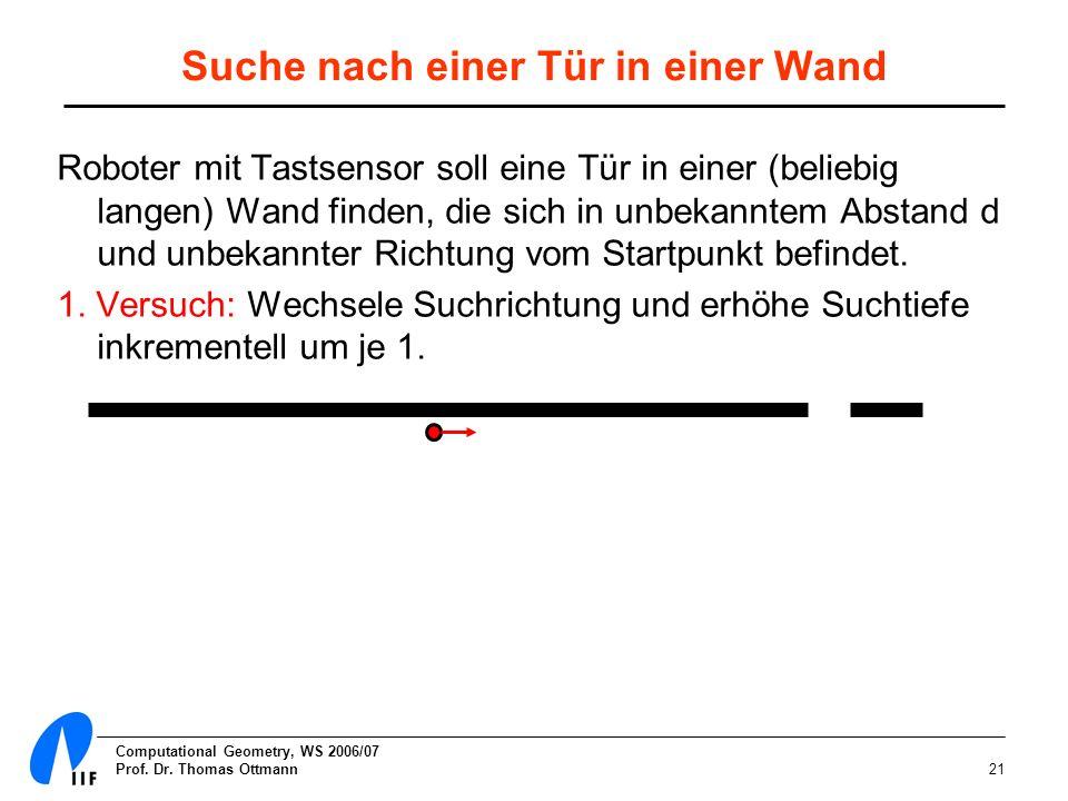 Computational Geometry, WS 2006/07 Prof. Dr. Thomas Ottmann21 Suche nach einer Tür in einer Wand Roboter mit Tastsensor soll eine Tür in einer (belieb