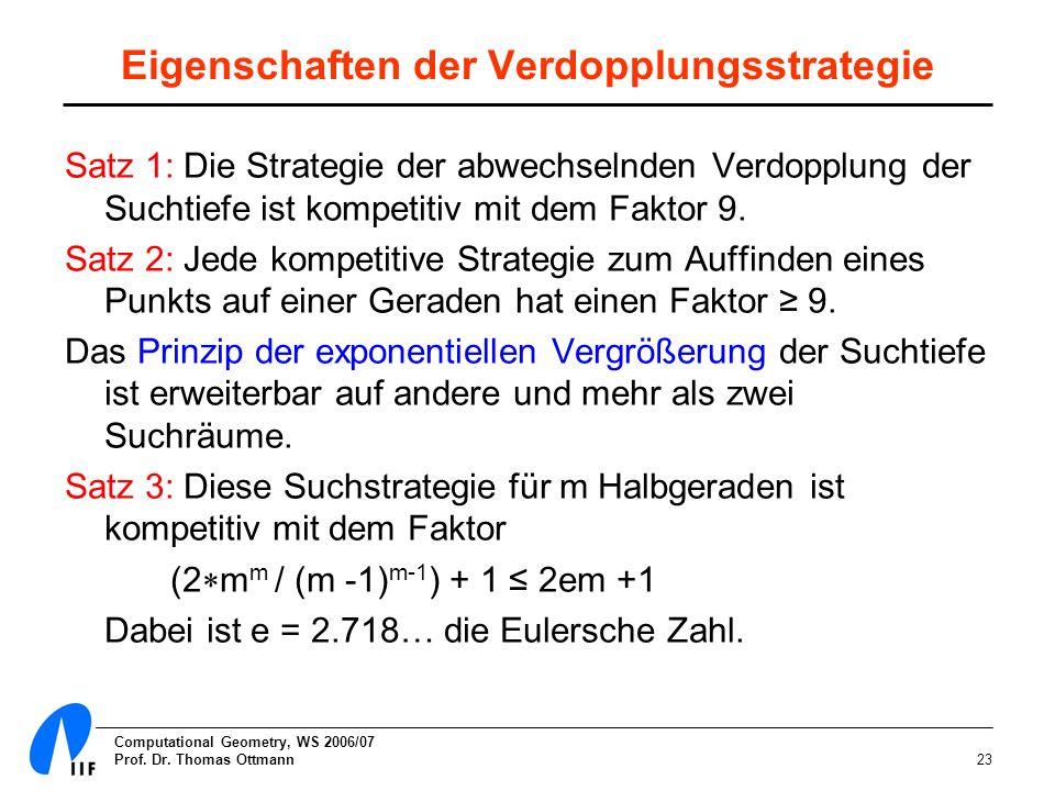 Computational Geometry, WS 2006/07 Prof. Dr. Thomas Ottmann23 Eigenschaften der Verdopplungsstrategie Satz 1: Die Strategie der abwechselnden Verdoppl