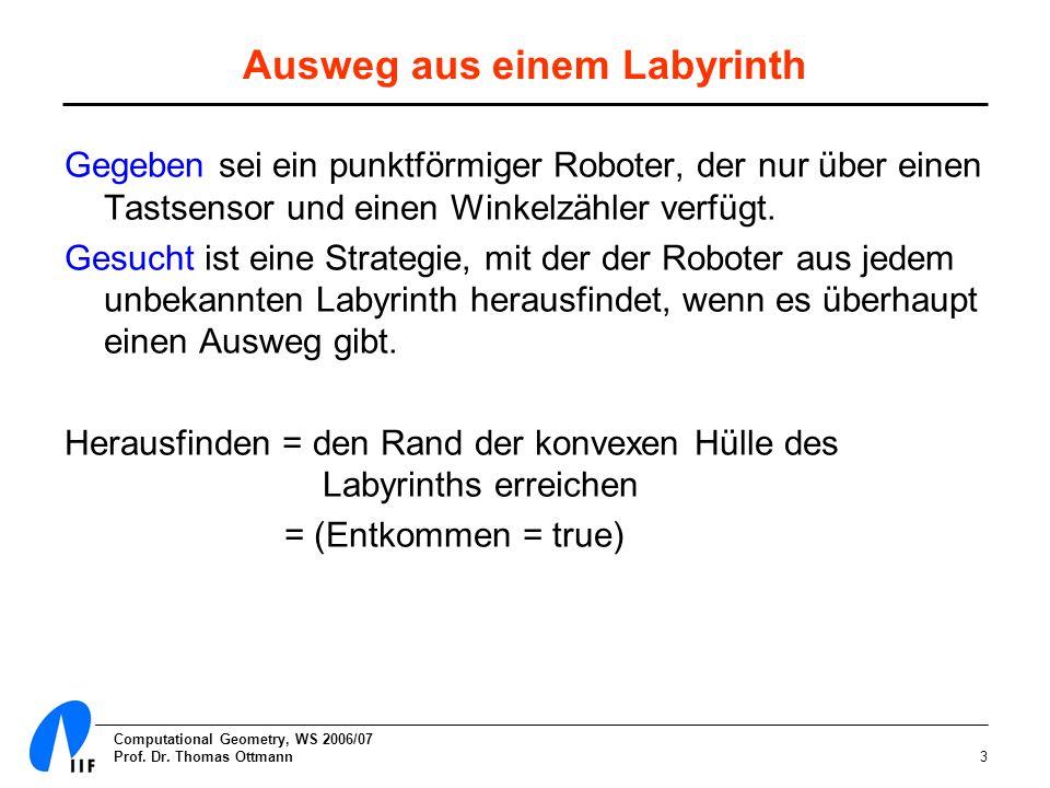 Computational Geometry, WS 2006/07 Prof. Dr. Thomas Ottmann3 Ausweg aus einem Labyrinth Gegeben sei ein punktförmiger Roboter, der nur über einen Tast
