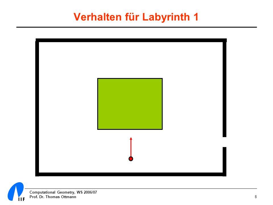 Computational Geometry, WS 2006/07 Prof. Dr. Thomas Ottmann9 Verhalten für Labyrinth 2