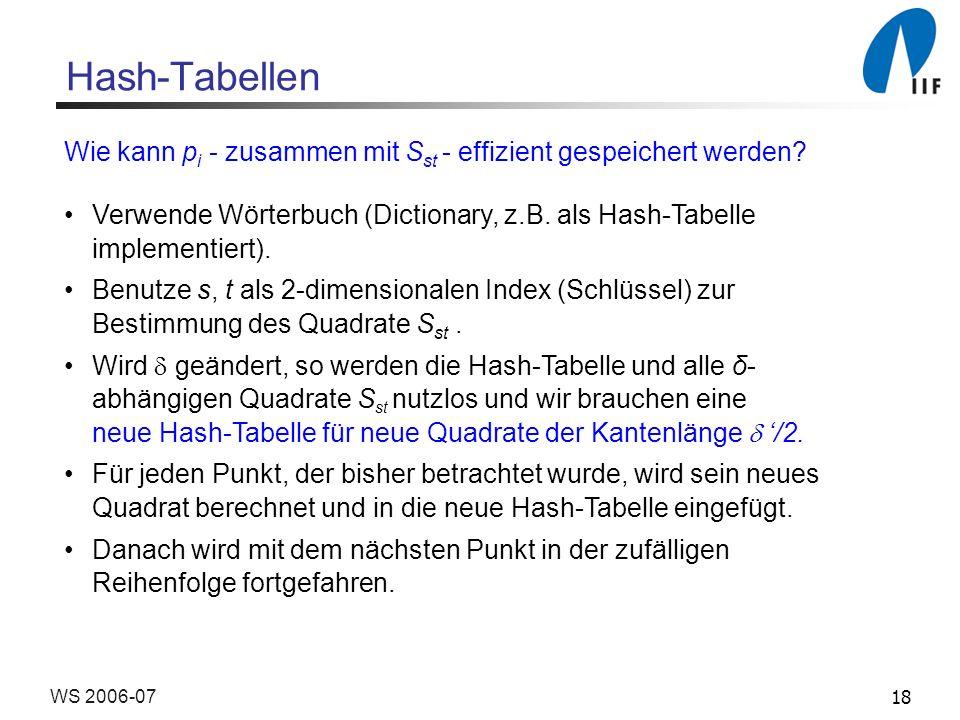 18WS 2006-07 Hash-Tabellen Wie kann p i - zusammen mit S st - effizient gespeichert werden? Verwende Wörterbuch (Dictionary, z.B. als Hash-Tabelle imp