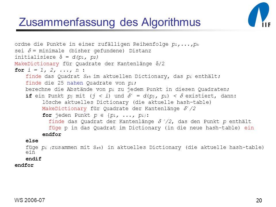 20WS 2006-07 Zusammenfassung des Algorithmus ordne die Punkte in einer zufälligen Reihenfolge p 1,...,p n sei = minimale (bisher gefundene) Distanz in